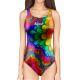 Woman One Piece Swimsuit Skin RAINBOW FLOWER