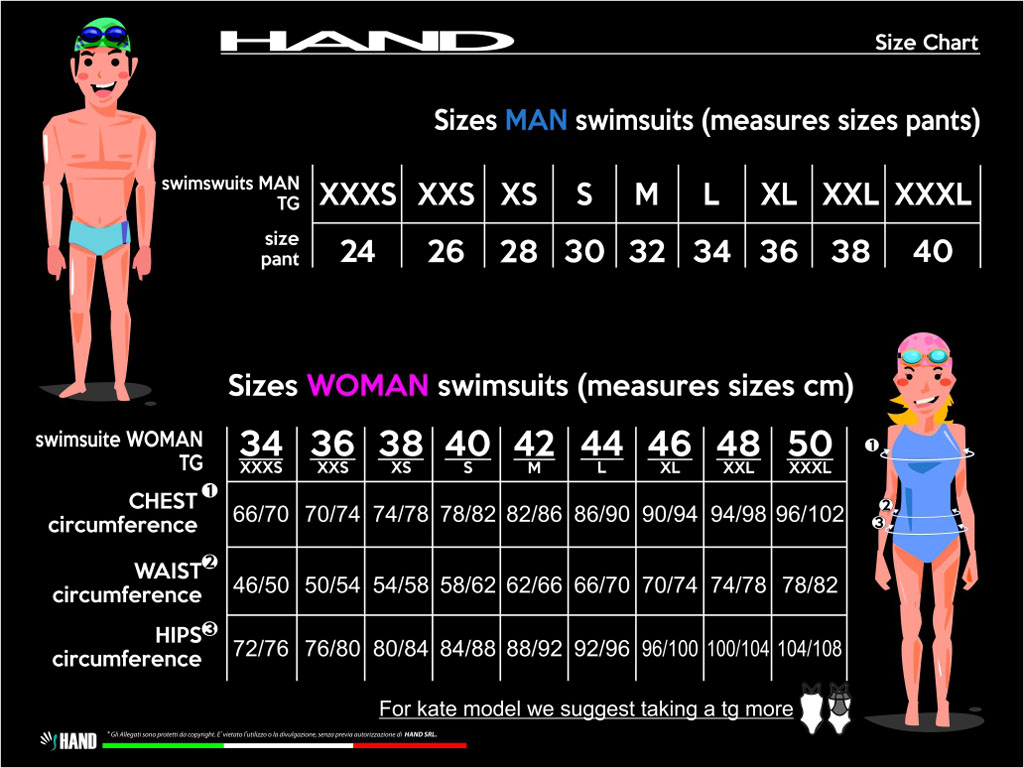 Size Chart Swimsuits Hand